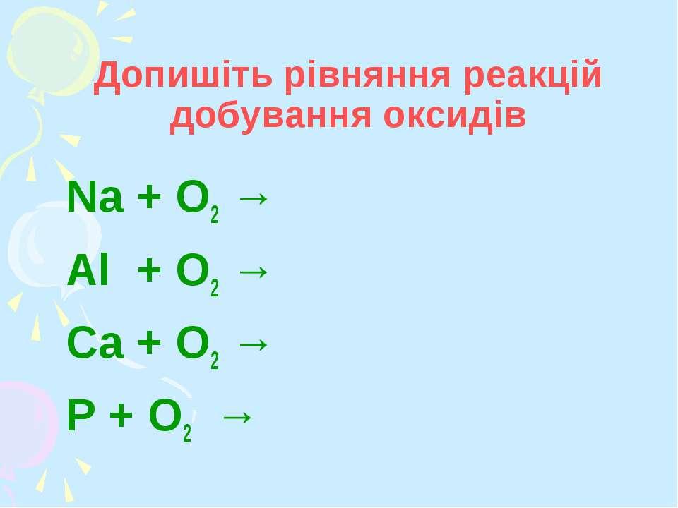Допишіть рівняння реакцій добування оксидів Na + O2 → Al + O2 → Ca + O2 → P +...