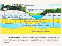 Верховодка – сезонна вода, що залягає на першому від поверхні шарі водотривки...