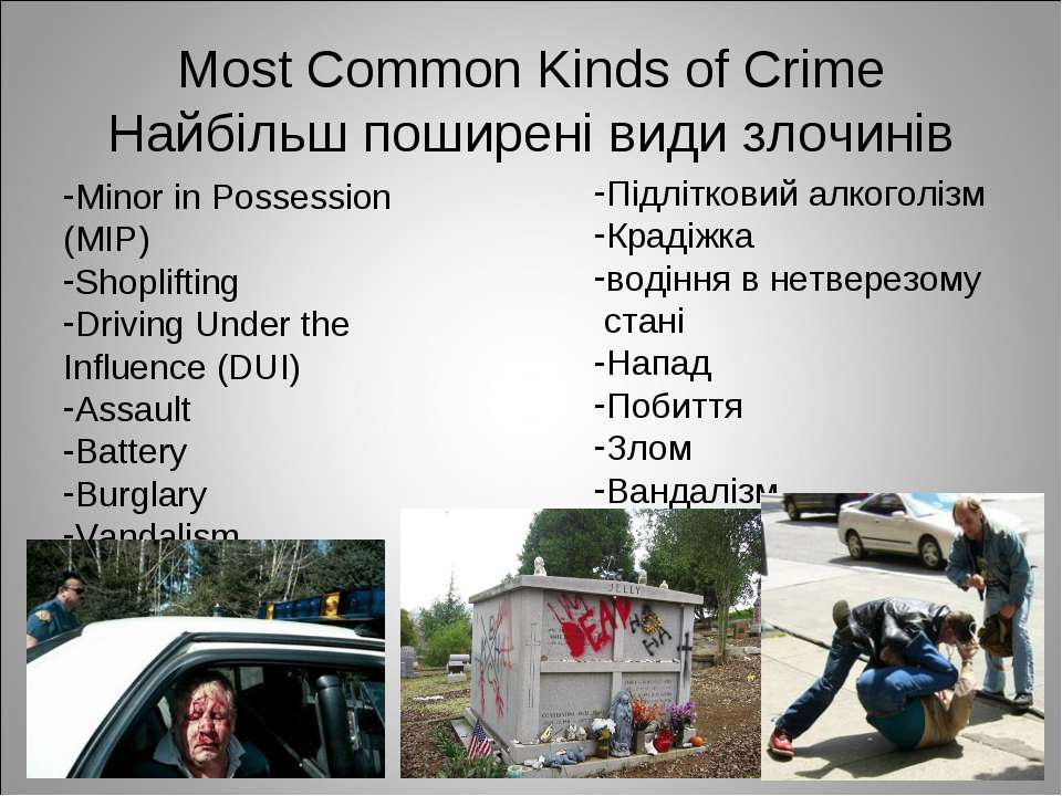 Most Common Kinds of Crime Найбільш поширені види злочинів Minor in Possessio...