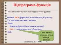 Підпрограма-функція Загальний вигляд описання підпрограми-функції: Function і...