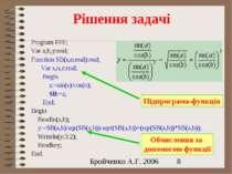 Рішення задачі Program FFF; Var a,b,y:real; Function SB(s,n:real):real; Var s...