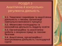 РОЗДІЛ 3 Аналітична й контрольно- регулююча діяльність 3.1. Тематичні перевір...