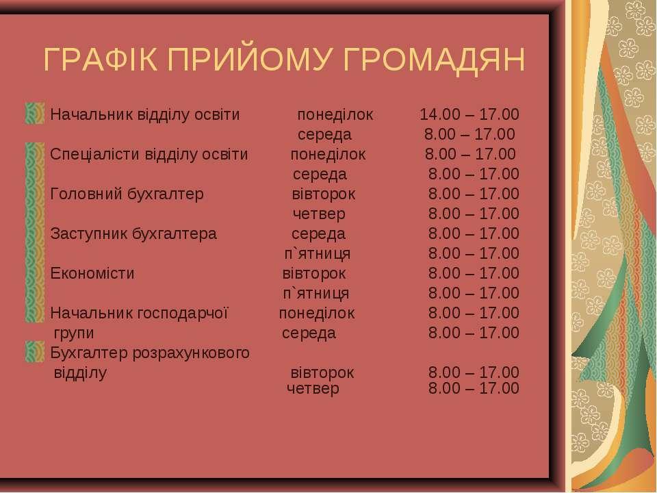 ГРАФІК ПРИЙОМУ ГРОМАДЯН Начальник відділу освіти понеділок 14.00 – 17.00 сере...