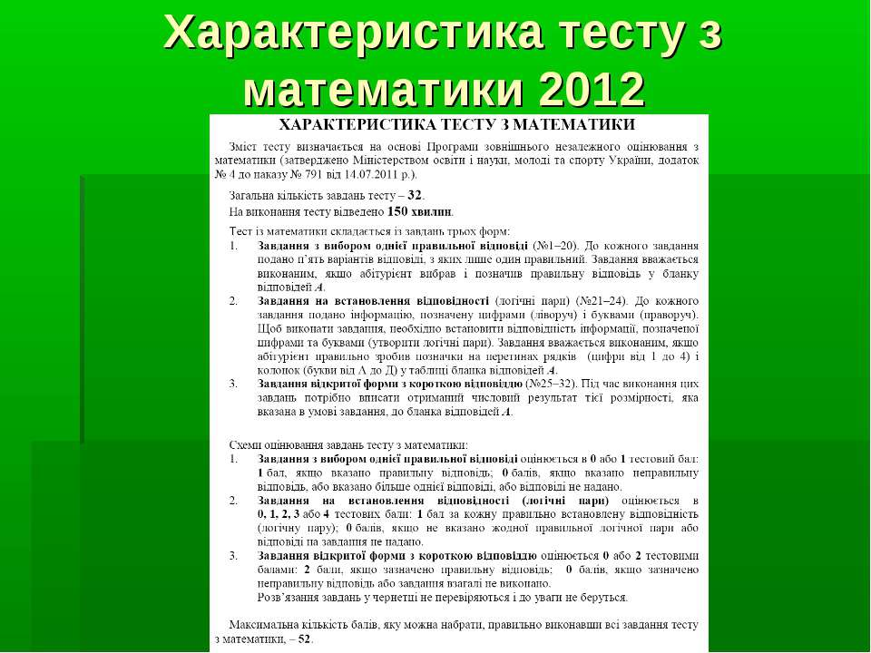 Характеристика тесту з математики 2012