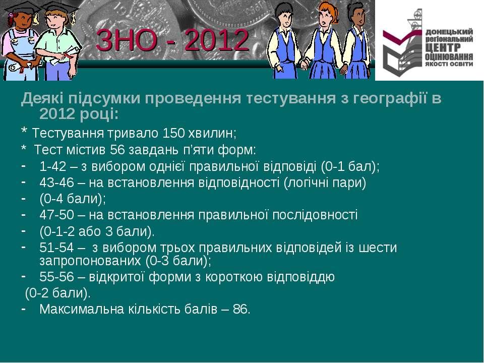 ЗНО - 2012 Деякі підсумки проведення тестування з географії в 2012 році: * Те...