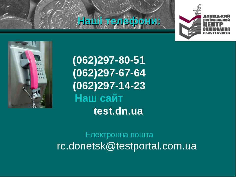 Наші телефони: (062)297-80-51 (062)297-67-64 (062)297-14-23 Наш сайт test.dn....