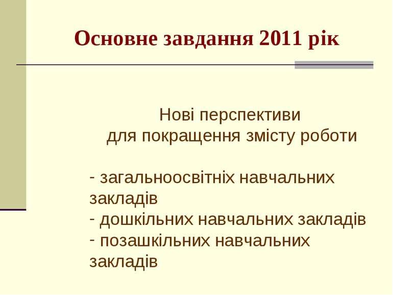 Основне завдання 2011 рік Нові перспективи для покращення змісту роботи загал...