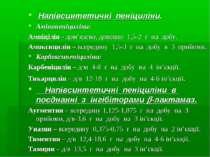 Напівсинтетичні пеніциліни. Амінопеніциліни: Ампіцілін - дом'язево, довенно 1...