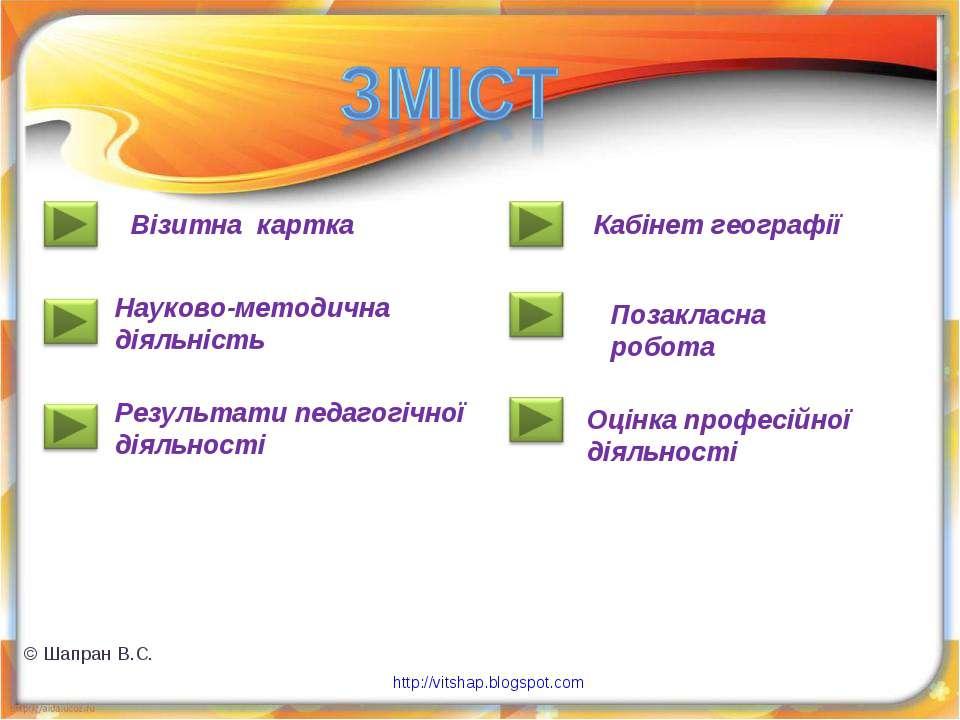 Візитна картка Результати педагогічної діяльності Науково-методична діяльніст...