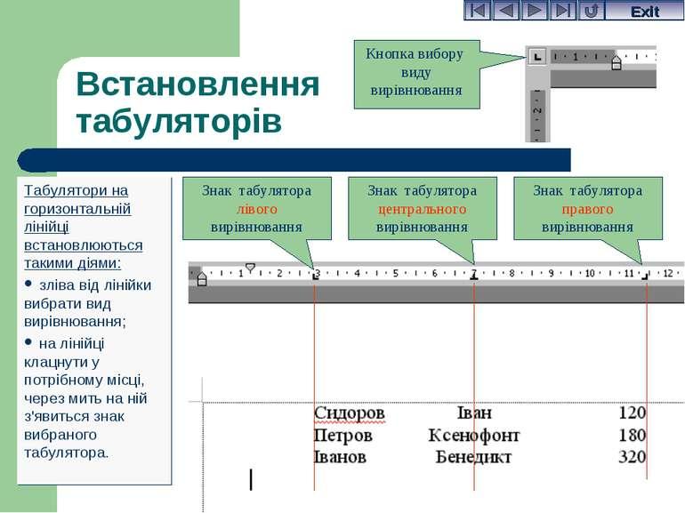 Встановлення табуляторів Табулятори на горизонтальній лінійці встановлюються ...