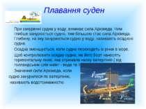 Плавання суден При зануренні судна у воду, виникає сила Архімеда. Чим глибше ...