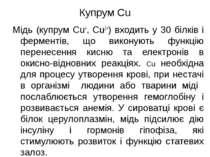 Купрум Cu Мідь (купрум Cu+, Cu2+) входить у 30 білків і ферментів, що виконую...