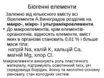 Біогенні елементи Залежно від кількісного вмісту всі біоелементи А.Виноградов...