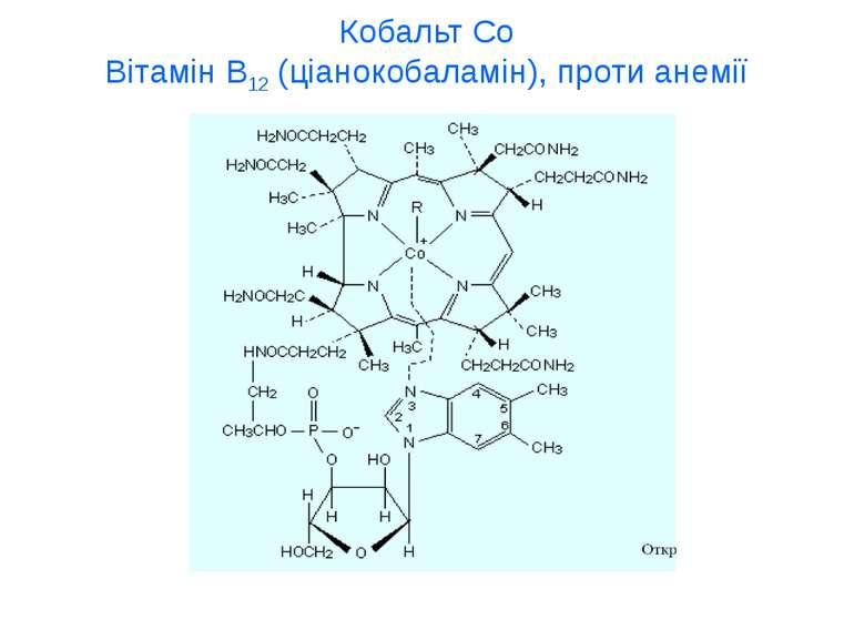 Кобальт Со Вітамін В12 (ціанокобаламін), проти анемії