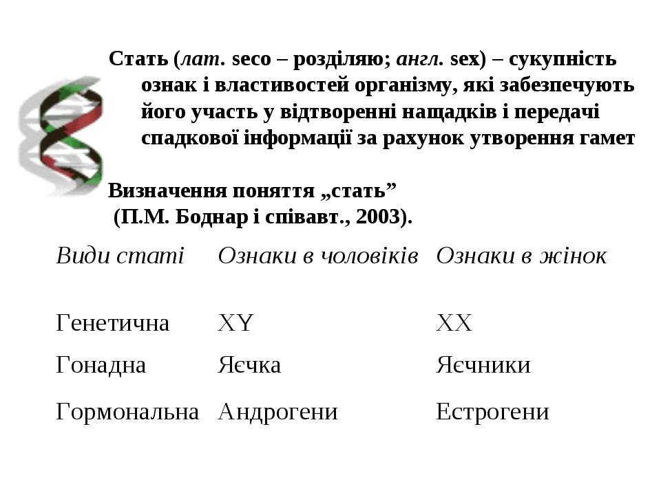 Cтать (лат. seco – розділяю; англ. sex) – сукупність ознак і властивостей орг...