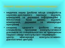 Основні предметні області телемедицини: медична наука (робоче місце спеціаліс...