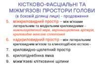 КІСТКОВО-ФАСЦІАЛЬНІ ТА МІЖМ'ЯЗОВІ ПРОСТОРИ ГОЛОВИ (в боковій ділянці лиця) - ...