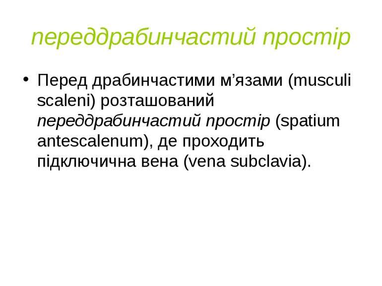 переддрабинчастий простір Перед драбинчастими м'язами (musculi scaleni) розта...