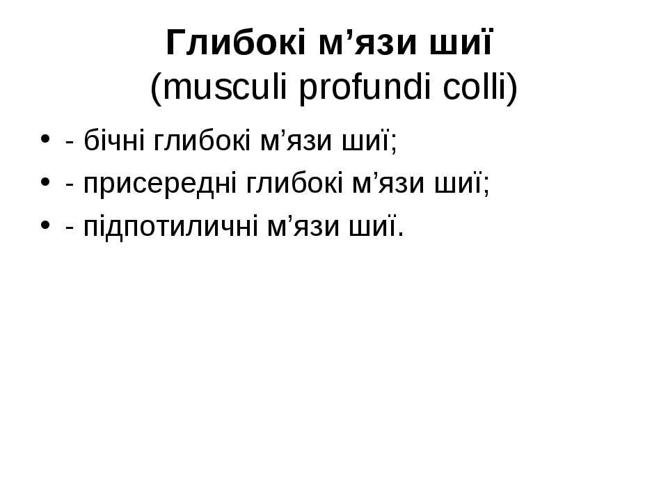 Глибокі м'язи шиї (musculi profundi colli) - бічні глибокі м'язи шиї; - присе...