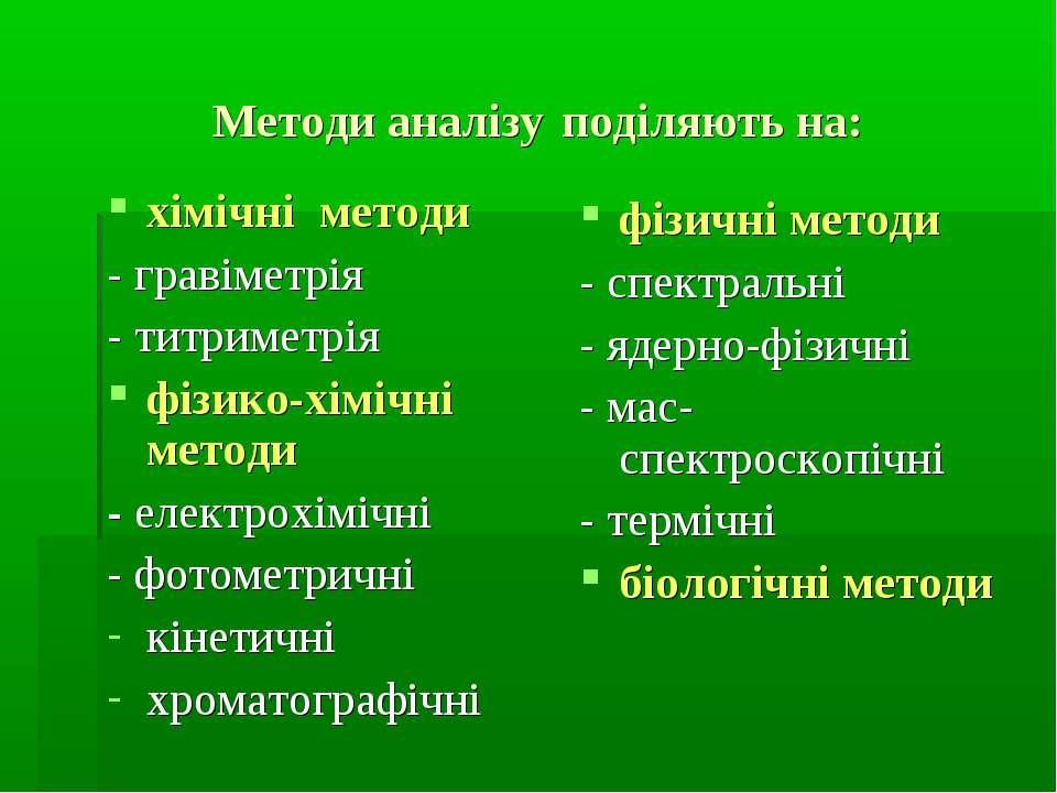Методи аналізу поділяють на: хімічні методи - гравіметрія - титриметрія фізик...