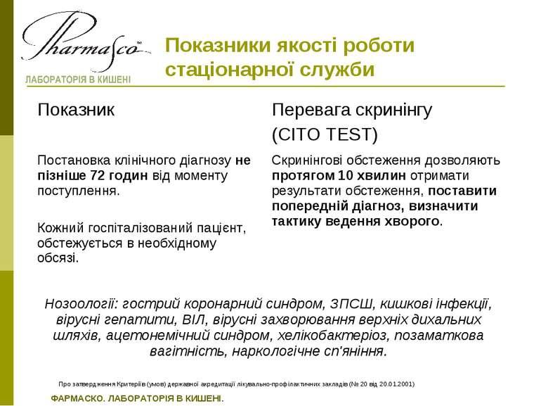 Про затвердження Критеріїв (умов) державної акредитації лікувально-профілакти...
