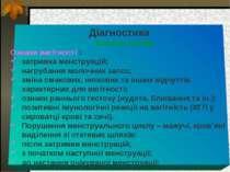 Діагностика Клінічні ознаки Ознаки вагітності : затримка менструацій; нагруба...