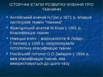 ІСТОРІЧНІ ЕТАПИ РОЗВИТКУ ВЧЕННЯ ПРО ТКАНИНИ Англійський вчений Н.Грю у 1671 р...