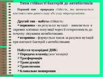 Типи стійкості бактерій до антибіотиків Перший тип - природна стійкість, яка ...