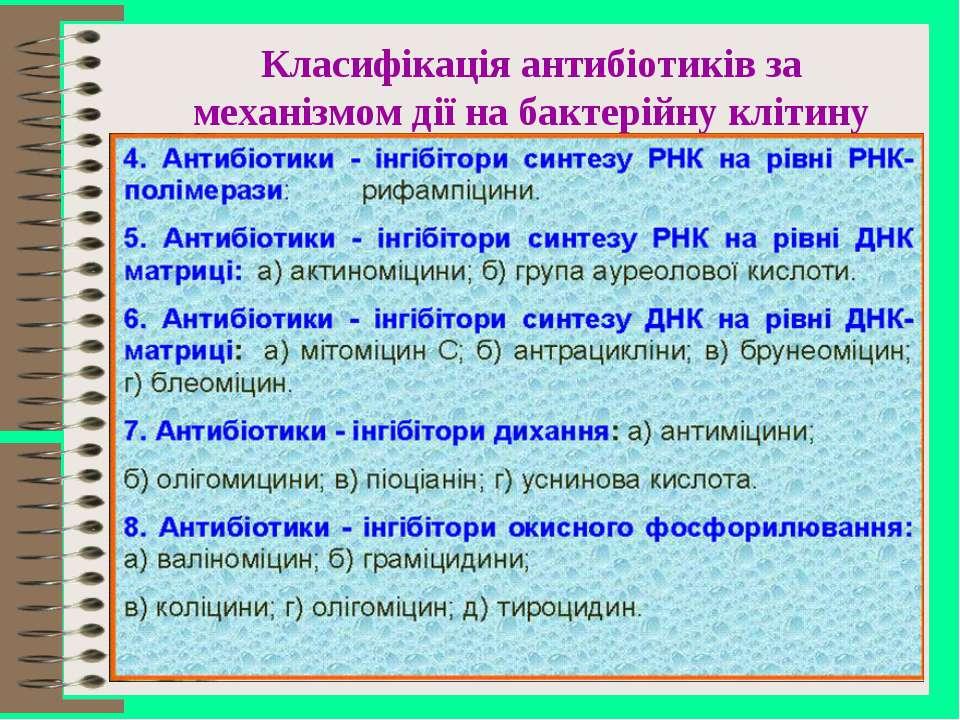 Класифікація антибіотиків за механізмом дії на бактерійну клітину