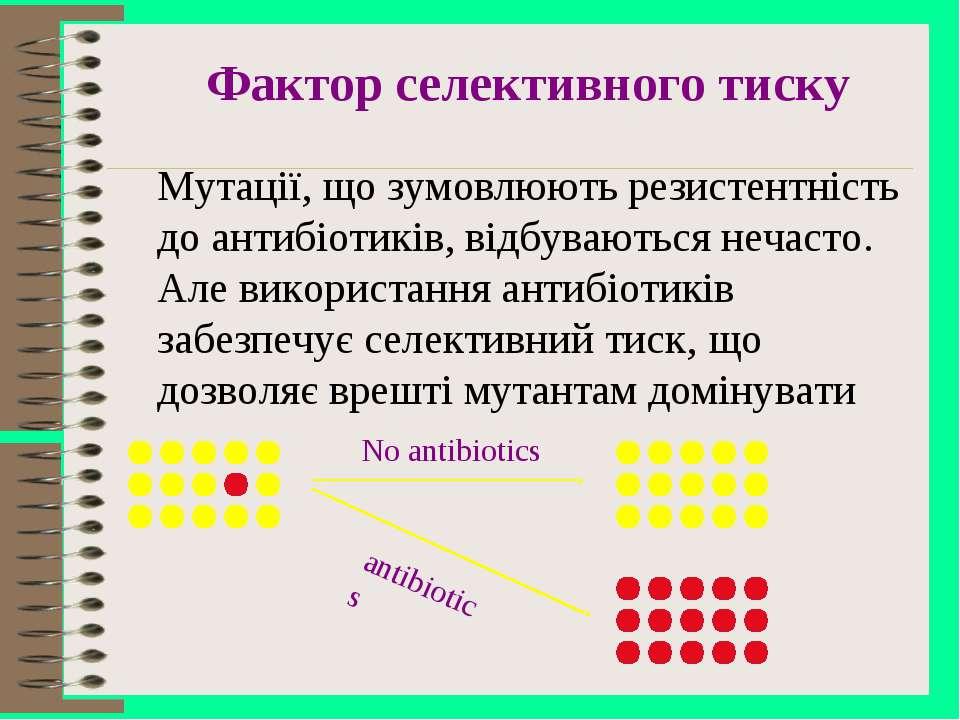 Фактор селективного тиску Мутації, що зумовлюють резистентність до антибіотик...