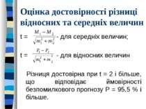 Оцінка достовірності різниці відносних та середніх величин t = - для середніх...