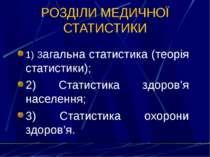 РОЗДІЛИ МЕДИЧНОЇ СТАТИСТИКИ 1) Загальна статистика (теорія статистики); 2) Ст...