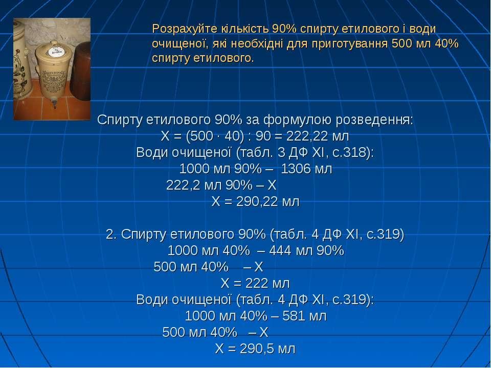 Спирту етилового 90% за формулою розведення: Х = (500 · 40) : 90 = 222,22 мл ...