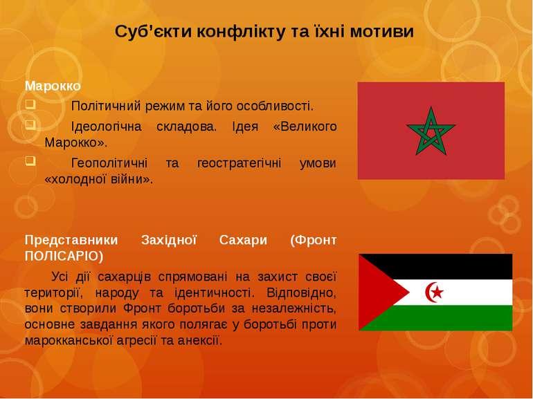 Суб'єкти конфлікту та їхні мотивиМароккоПолітичний режим та його особливості....