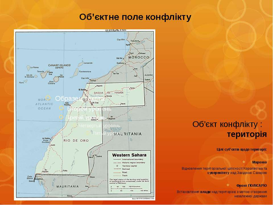 Об'єктне поле конфліктуОб'єкт конфлікту : територіяЦілі суб'єктів щодо терито...