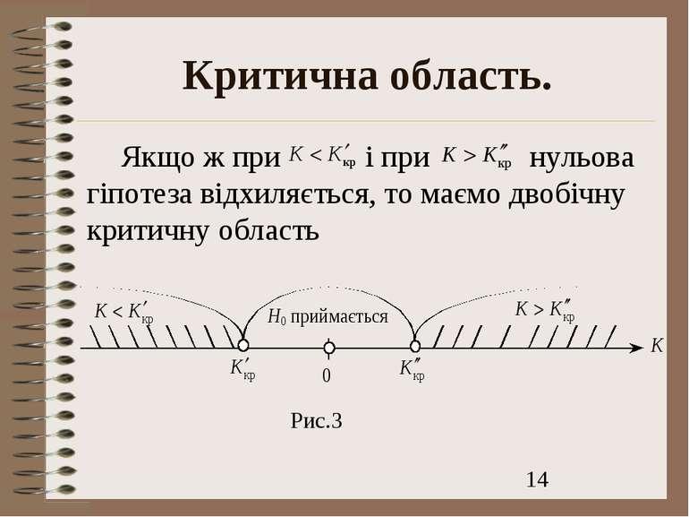 Критична область. Якщо ж при і при нульова гіпотеза відхиляється, то маємо дв...