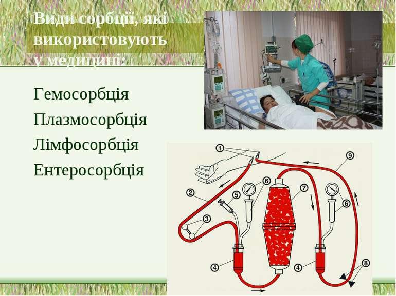 Види сорбції, які використовують у медицині: Гемосорбція Плазмосорбція Лімфос...