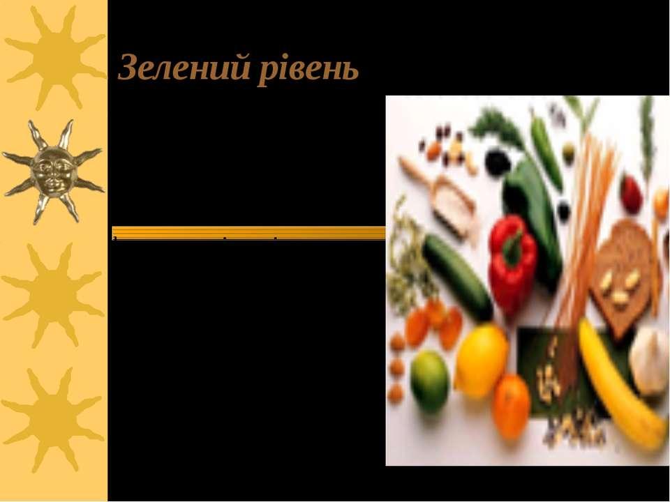 Зелений рівень Одна порція рівноцінна одному яблуку чи груші, або овочам ваго...