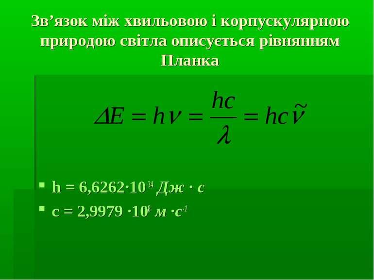 Зв'язок між хвильовою і корпускулярною природою світла описується рівнянням П...