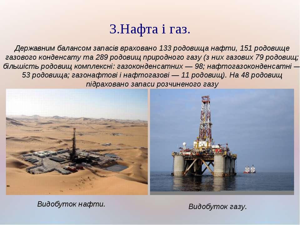 3.Нафта і газ. Державним балансом запасів враховано 133 родовища нафти, 151 р...