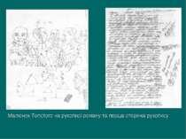 Малюнок Толстого на рукописі роману та перша сторінка рукопису