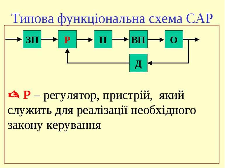Типова функціональна схема САР ЗП Р П ВП О Д Р – регулятор, пристрій, який сл...
