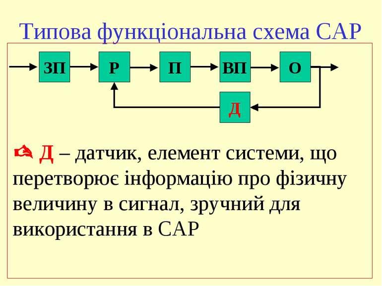 Типова функціональна схема САР ЗП Р П ВП О Д Д – датчик, елемент системи, що ...