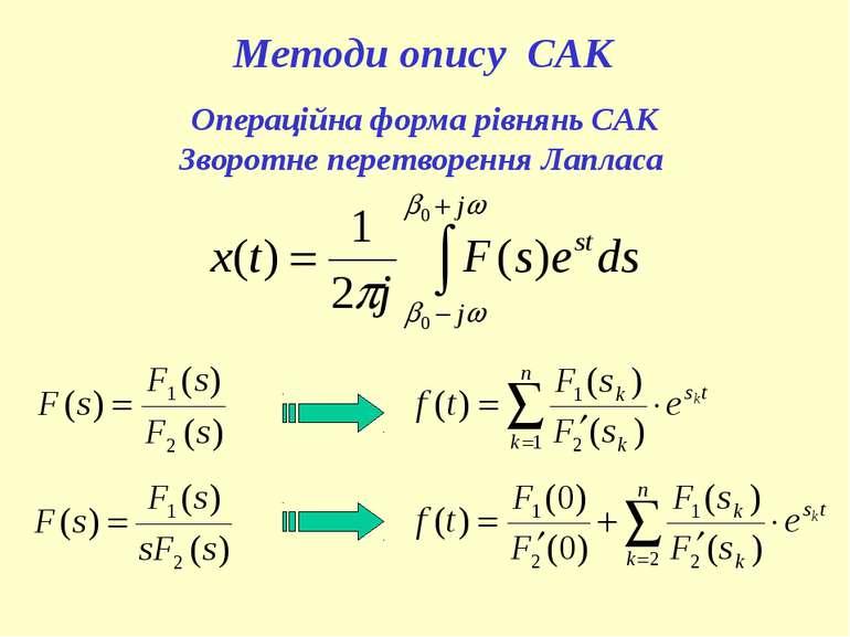 Методи опису САК Операційна форма рівнянь САК Зворотне перетворення Лапласа
