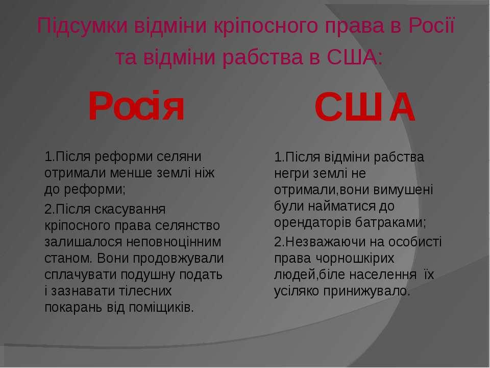 Підсумки відміни кріпосного права в Росії та відміни рабства в США: Росія 1.П...