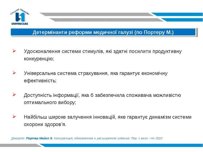 Детермінанти реформи медичної галузі (по Портеру М.) Удосконалення системи ст...
