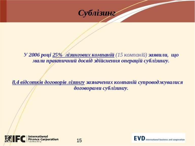 Сублізинг У 2006 році 25% лізингових компаній (15 компаній) заявили, що мали ...