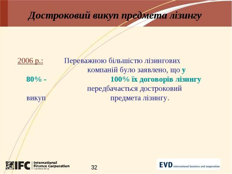 Достроковий викуп предмета лізингу 2006 р.: Переважною більшістю лізингових к...