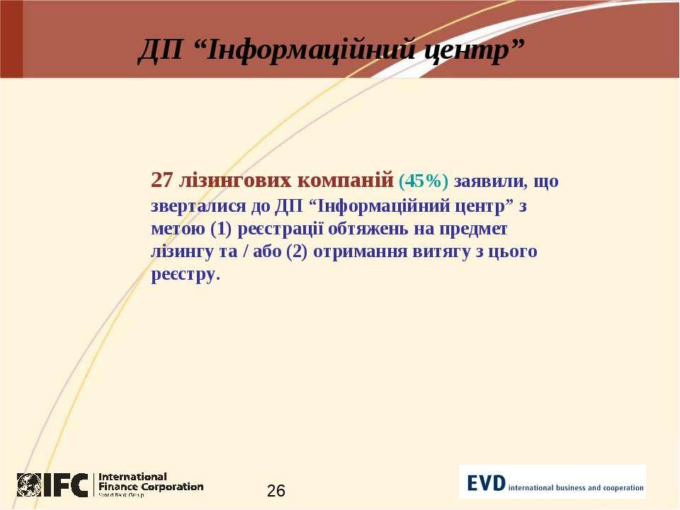 """ДП """"Інформаційний центр"""" 27 лізингових компаній (45%) заявили, що зверталися ..."""