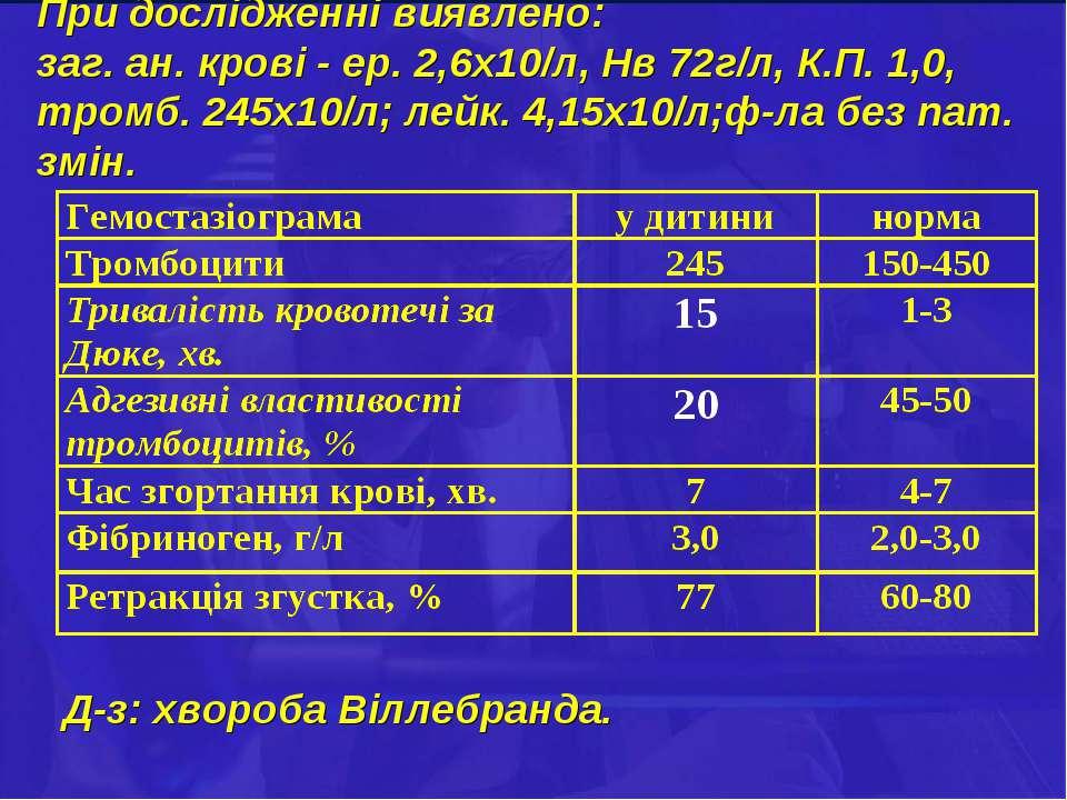 При дослідженні виявлено: заг. ан. крові - ер. 2,6х10/л, Нв 72г/л, К.П. 1,0, ...